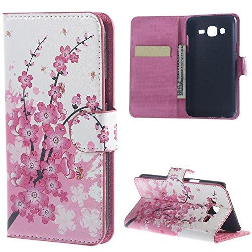 Schutzhülle für Samsung Galaxy J5 SM-J500F Tasche Muster PU Leder [Flip Wallet Case] Cover Hülle Handy Tasche Etui Schale mit Standfunktion Kredit Kartenfächer (Rosa Blume)