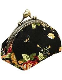 RETUROM De cosecha de flores de señora Retro Pequeño Monedero del cerrojo del monedero del bolso de embrague