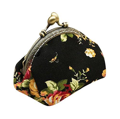 RETUROM De cosecha de flores de señora Retro Pequeño Monedero del cerrojo del monedero del bolso de embrague (Negro)