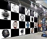 LYSBHX 3D Wallpaper Selbstklebend (B) 400X (H) 280Cm Einkaufszentrum Uhrenshop Schwarz-Weiß-Quadrat Uhr 3D Fototapete Wandbild Wandkunst Dekoration Kinderzimmer 3D Wandbild Junge Mädchen Zimmer Wand