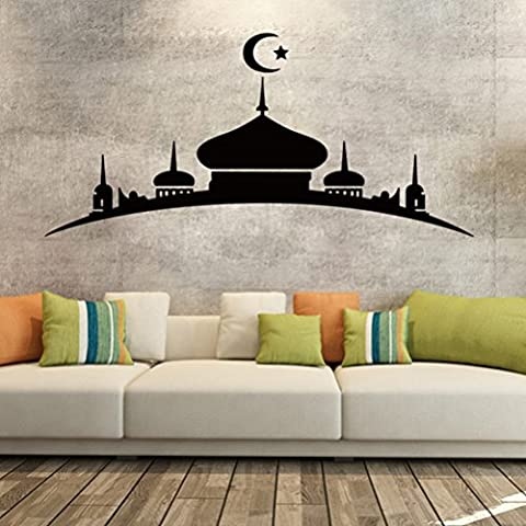 DIY extraíble islámica musulmán Cultura Surah Bismillah árabe Alá pared vinilo pegatinas/Adhesivos Corán Quotes Caligrafía como mural de casa decoración de arte 4109Castillo (58cm x 122cm)