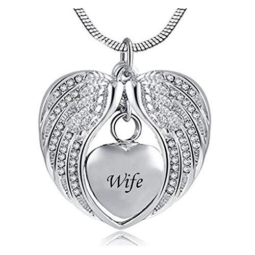 Groeoy joyería de urna Forma de urna Cenizas Recuerdo Angel Wings Hold Heart...