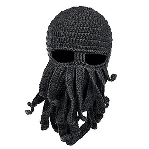 Oktopus Kostüm - MagiDeal Lustige Bartmütze Stickmütze mit Bart Maske Krake Kostüm - Dunkelgrau