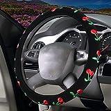 Febelle Morbido Veicolo Comodo Protezione per Volante dell'automobile Universale Diametro 38 cm Ricamo Maniglia Imposta Quattro Stagioni (Ciliegie)