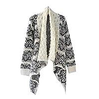 Gaorui Women Ladies Stylish Aztec Bohemian Cardigan Winter Knit Cape Poncho Tartan Shawl Blanket wrap Open Cardigan Loose Sweater