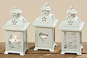 Lanterna con cuore Set di 3 portacandele in legno decorativa da giardino Shabby candela lumino