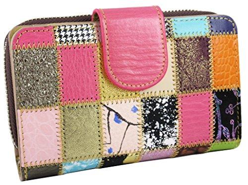 Deluxe Damen Geldbörse . Echt hochwertigem Leder - handgefertigt von Handwerkern in Spanien. Zip um und Patchwork-Design. Farben. Im Geschenkbox -
