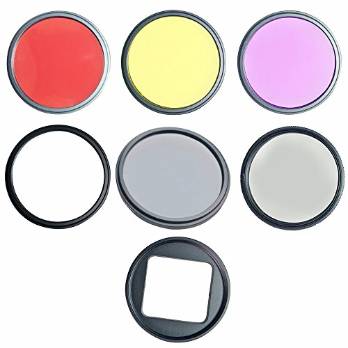 SHOOT 7 Stück UV Filter CPL Filter ND4 52MM Professional Objektiv Filter Kits Slim Graduated Farbfilter Set (gelb lila rot) für GoPro HERO 4/3 +
