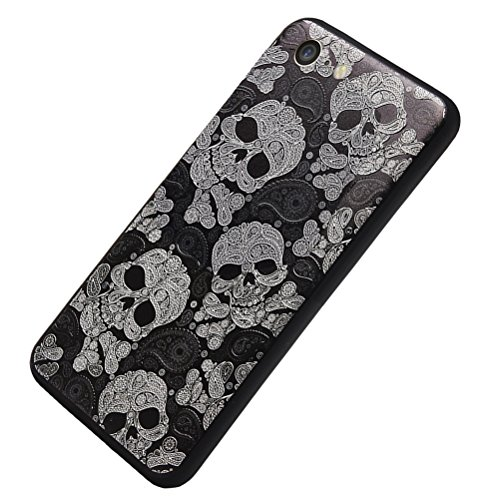 MOONCASE iPhone 7 Custodia, [Blu Fiore] Creative 3D morbida TPU Custodia per iPhone 7 4.7 Flessibile Skin Slim Fit Case di protezione Skull