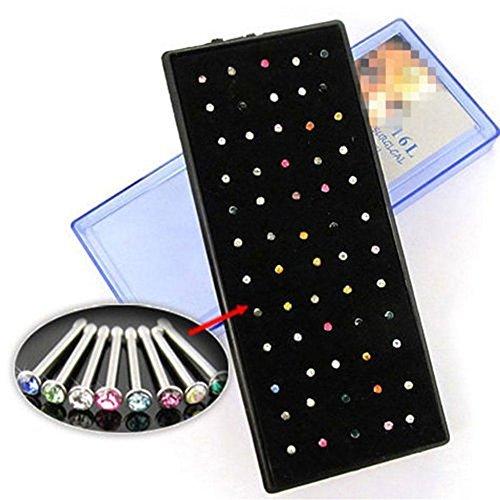 ZHUOTOP 60 Stücke Multi Farbe Nasenstecker Set mit Strasssteinen aus Chirurgenstahl, Köper Piercing Schmuck