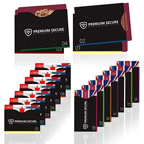 19 Pack 14 cartes de crédit Etuis de protection 4 passeports 1 étiquette bagage RFID Blocking pour cartes de crédit, cartes d'identité, passeports contre vol de données