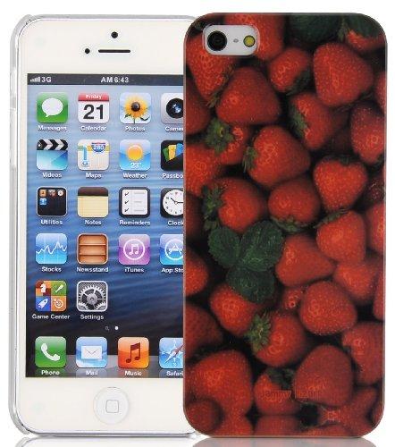 JAMMYLIZARD   Back Cover Hülle für [ iPhone 5 / 5s und iPhone SE ] mit Vintage Muster, BLAUER EIFFELTURM Lecker ERDBEEREN