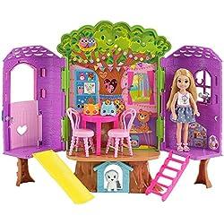 Barbie Chelsea, casa de muñecas Casita del Árbol, juguete +3 años (Mattel FPF83)