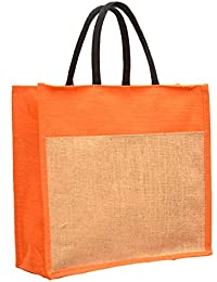The Bag Spot Dual Color Jute Burlap Large Big Size Handbag Bag Working Office Bag To Carry Grocery Or Box Files...