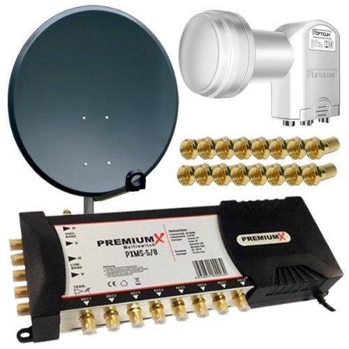 PremiumX Antenne 100cm Alu Anthrazit HDTV UHD 4K + Multischalter PXMS-5/8 Multiswitch 5/8 mit Netzteil 1x SAT für 8 Teilnehmer + LNB Quattro 0,1 dB Opticum LRP-04H + 16x F-Stecker vergoldet