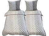 Leonado Vicenti - Bettwäsche 135x200 4teilig grau rosa Karos mit Reißverschluss