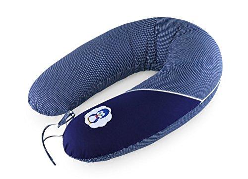 Sei Design Stillkissenbezug für Stillkissen von Sei Design XXL 190 x 30cm mit Reißverschluss und hochwertiger Stickerei, 100% Baumwolle. (Jeanzblau Pinguin)