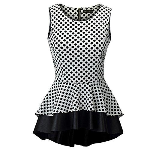 Laeticia Dreams Damen Bluse Schößchen S M L XL, Größe:40, Farbe:Weiß/Schwarz Punkte Klein
