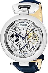 Stuhrling Original Special Reserve Emperor's Grandeur Men's Automatic Watch with Silver Dial Analogue Display and Blue Leather Strap 127A.3315C2