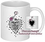 My Sweetheart® Geschenk Patentante fragen - Überraschungseffekt Tasse - Zaubertasse Magic Mug Farbwechseltasse - schöne Patentante Geschenkideen
