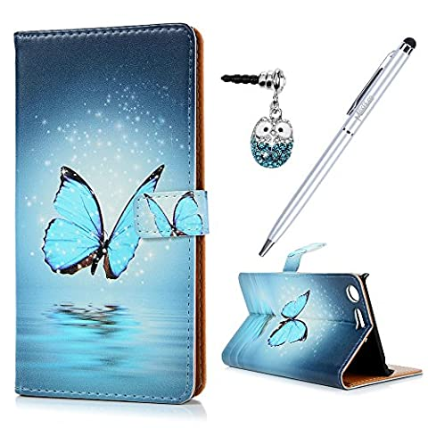 Sony Xperia XZ Premium Case MAXFE.CO 3D Blue Butterfly Patterned PU Leather Case Flip Wallet Flip Case Cover Shockproof for Xperia XZ Premium & One Touch Pen & One Dust
