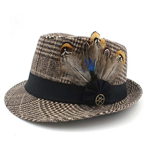 JiuRui Zubehör Gentleman Wolle Grid Ribbon Sombreros Jazz Hut Frauen Kirche Panama Top Hut 10, Mode Herbst Winter Männer Feminino Fedora Hut (Farbe : 4, Größe : 56-59cm)