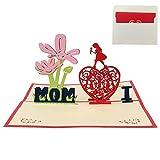 3D Pop Up Mr., i Love MOM biglietto d' auguri di compleanno per mamma, biglietti di carta per festa della mamma