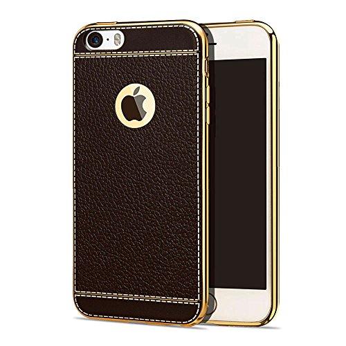 iPhone 6 6S Hülle Dunkelbraun , ivencase Luxus Texturierter Leder Style Schutzhülle, Flexibles TPU Hybrid Bumper Silikon Tasche Handyhülle für Apple iPhone 6 6s 4.7