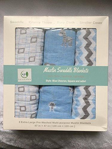 Muselina mantas de bebé Swaddle por zenaidas (3unidades)–100% algodón, suave, elegante, mantas multiusos 47x 47(azul/gris/blanco–Chevron, cuadrado, Safari colección