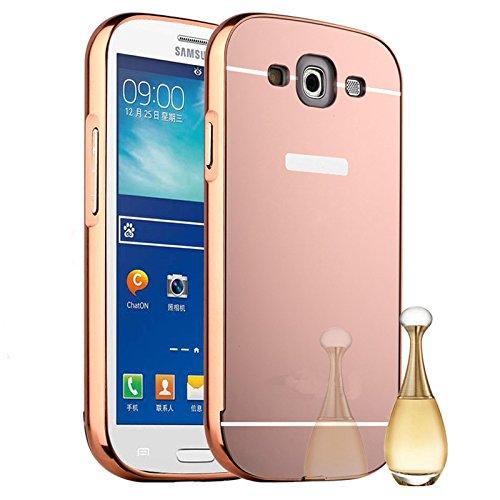 Semoss Luxus Bling Gliter Hülle Strass Aluminium Schutzhülle Spiegel Handytasche für Samsung Galaxy S3 i9300 i9305 Metall Bumper Harte Schale Tasche Etui Cover Ultra Slim Thin Hardcase - Rose