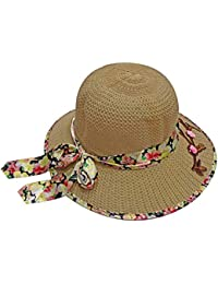 Kabello Sun Hat Wide Large Brim Beach Floppy Cap Hat for Women and Girls Travel Use Hats, Cream Printed Ribbon, Pack of 1