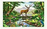 Yangll 3D Wallpaper Für Schlafzimmer 3D Fototapete 3D Wandbilder Wallpaper Tierwelt Kinderzimmer Einstellung Wand Ist Hellgrün Bäume Wandbild Wohnkultur, 250X175 Cm