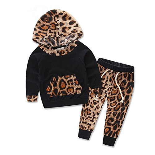 Zolimx Abbigliamento bambino Bambini Sets maniche lunghe leopardo tuta da ginnastica + Pantaloni Abiti Set (90)
