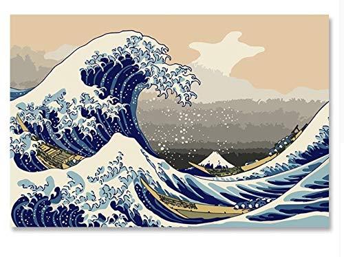 YKCKSD Float World Unentschieden Ukiyoe Mount Fuji, Japan Big Fish House DIY Digitales Malen Nach Zahlen Moderne Wandkunst Leinwand Malerei Einzigartige 30X45Cm -