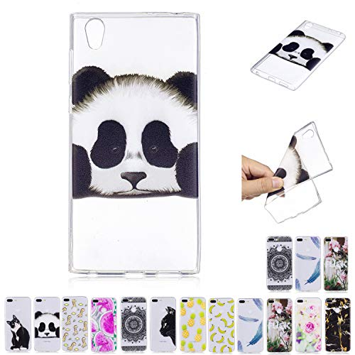 V-Ted Coque Sony Xperia E5 Panda Silicone Ultra Fine Mince Bumper Housse Etui Cover Transparente avec Motif Dessin Antichoc Incassable