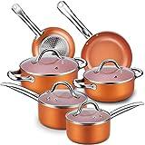 CUSIBOX Topfset, 10-Teilig Pfannenset aus Aluminum, Kochtöpfe Töpfe mit Kratzfester Antihaft-Beschichtung, induktionstöpfe, 4 x Glasdeckel, Bratpfanne, Kasserolle, Milchtopf (Orange)