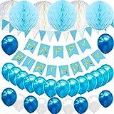 TopDeko Geburtstagsdeko Jungen, Geburtstag Dekoration Blau mit 6pcs Wabenbälle, 30pcs Große Geperlte Ballons, 1 Set Happy Birthday Banner, 1 Set Wimpel Banner (Blau)