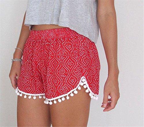 QIYUN.Z Les Femmes Des Shorts Pompon Decontracte Plage Ete Imprime Elastique La Taille Des Pantalons Courts Rouge
