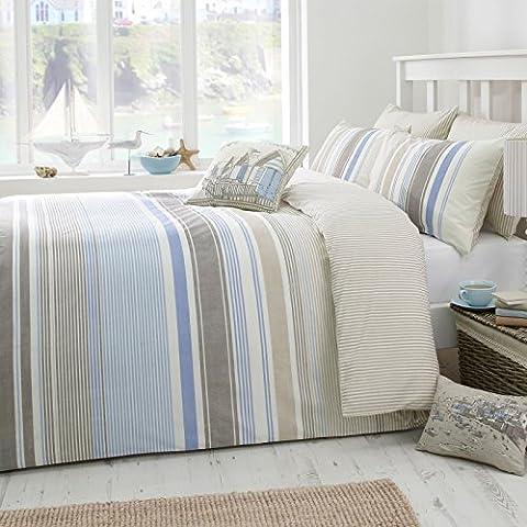Just Contempo Striped Duvet Cover Set, Double, Blue