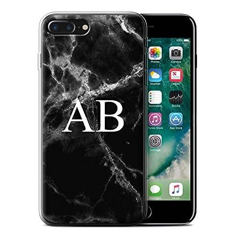 Personalised Marble Gel/TPU Case for Apple iPhone 7 Plus / Jade Black Monogram Design / Name/Initial Custom DIY Cover