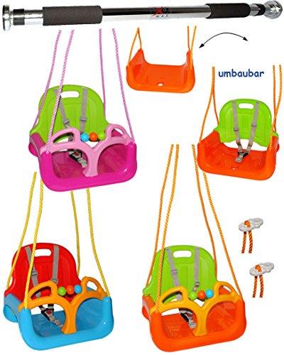 """Preisvergleich Produktbild 2 tlg. Set _ Türreck + mitwachsende - Gitterschaukel / Babyschaukel mit Gurt - """" ROT / GELB / BLAU """" - leichter Einstieg ! - verstellbar & mitwachsend - belastbar 100 kg - Kinderschaukel ab 1 Jahre - Reck für Türrahmen Befestigung - Stange - Türstange - mit Seitenschutz & Rückenlehne - Schaukel für Kinder - Innen und Außen / Garten - für Baby´s - aus Kunststoff / Plastik - Kunststoffschaukel - mitwachsend - Sicherheitsgurt - Gitterschaukel / Kleinkindschaukel - Baby"""