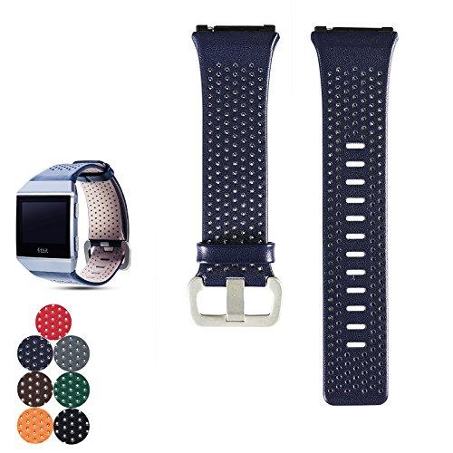 Für Fitbit Ionic Leder Band Gurt, Feskio Zubehör Soft Leder Handgelenk Strap Band Armband für Fitbit Ionic Wrist Bands, klein und groß für Frauen und Männer