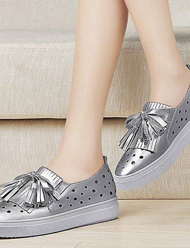 ZQ Damenschuhe - High Heels - B¨¹ro / Kleid / L?ssig / Party & Festivit?t - Kunststoff - Flacher Absatz - Komfort / Gladiator - Wei? / Silber silver-us8 / eu39 / uk6 / cn39