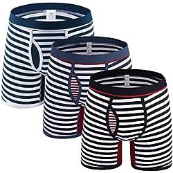 tuopuda Bóxer para Hombre Calzoncillos Ropa Interior Boxer Hombre Largo Algodon Rayas Pack de 3 (L (Waist = 27.5-29.1 Inch))