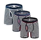 Tuopuda Herren Boxershort Lange Bein Streifen Baumwolle Retroshorts Boxer Briefs Unterwäsche für Herren Unterhosen Männer Pack 3er & 4er, Multicolor / 3pcs, DE L:Taille 86-94cm(Etikett XXL)
