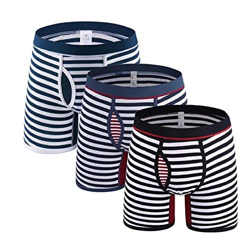 Tuopuda Herren Boxershort Lange Bein Streifen Baumwolle Retroshorts Boxer Briefs Unterwäsche für Herren 3 pack (3XL ( waist = 32.3 - 33.8 inch)) (Lange Brief Boxer Unterwäsche)