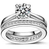 Women's Channel Set STERLING SILVER RING. Full Eternity Wedding Anniversary Ring With Simulated Diamonds. 925 STAMPED.