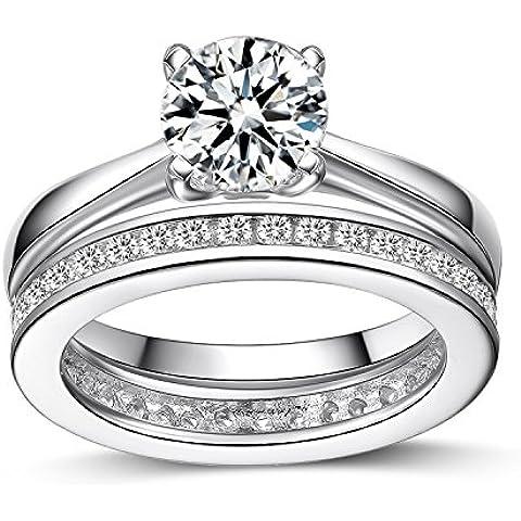 UK Sreema - Anello in argento Sterling da donna Anello da matrimonio, motivo: Full Eternity, per anniversario, con finti diamanti. Stampigliatura: 925., Argento, 10, cod. LE