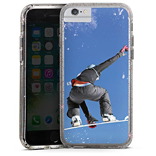 Apple iPhone 7 Bumper Hülle Bumper Case Glitzer Hülle Snowboard Sprung Wintersport Bumper Case Glitzer rose gold