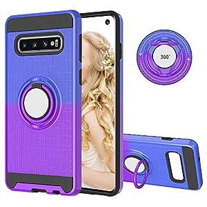 FAWUMAN Hülle für Samsung Galaxy S10 mit Ringständer,2 in 1 Rutschfestes 3D-Fischernetz Hybrid Handyhülle Hart PC + Weiche TPU Schutzhülle